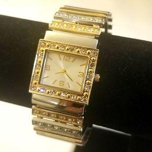 CUFF BRACELET Ladies Two Tone Gold/Silver Watch